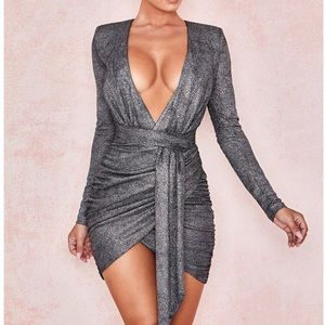 House of CB sparkly silver dress